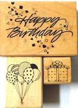 Birthday Rubber stamps Lot 3 Party Celebration Hero Arts  - $13.62