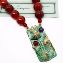Elaine Coyne Collectible Artwear Tulip Carnelian Beaded Necklace Handmad... - $212.85