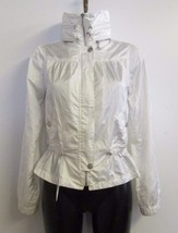 Guess Jeans Bomber Jacket Coat Sz Small S White Zip Up Roll Away Hood Pu... - $20.06