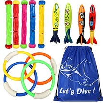 Underwater Swimming Diving Pool Toy Rings 4 pcs, Diving Sticks 5 pcs and... - $16.54