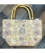 Bamboo Handle Floral Handbag with Zipper top and inside pocket  NEW - $14.20
