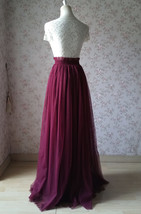 BURGUNDY Wedding Full Long Tulle Skirt Burgundy Wine Red Bridesmaid Outfit Plus image 6