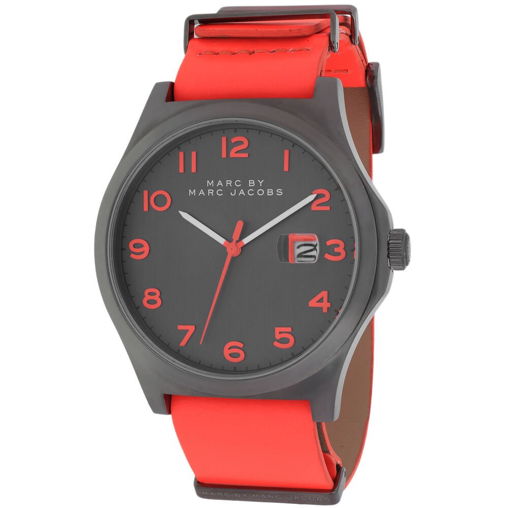 Primary image for BRAND NEW MARC JACOBS MBM5060 JIMMY BRIGHT RED LEATHER GUNMETAL CASE MEN'S WATCH