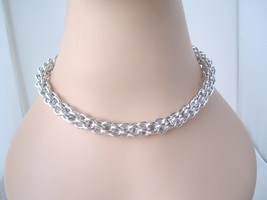 Chain Links Metal Silver tone chain Chunky Vintage necklace Mod Retro - $7.89