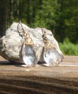 Big Vintage Faux Quartz Crystal Briolette, Dangle Earrings, Pierced - $20.00