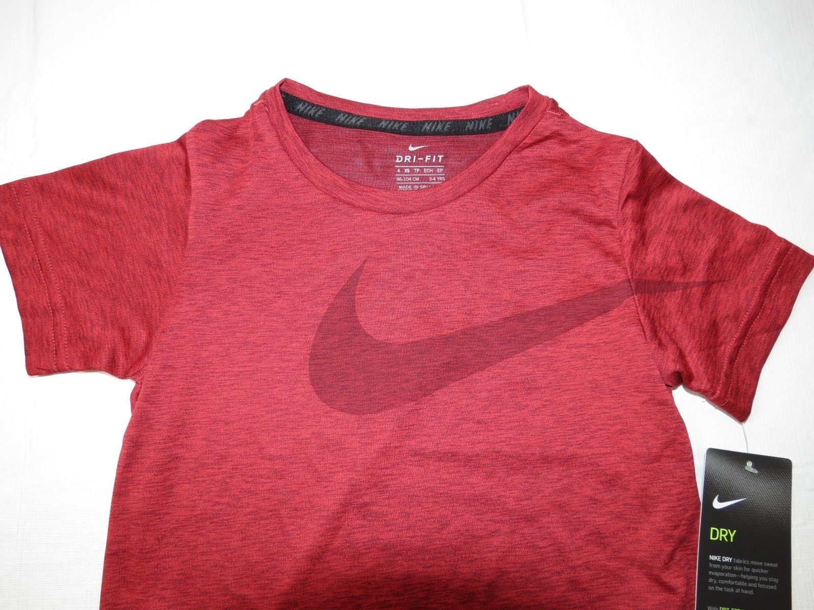 Boys Youth Nike Dri-Fit 4 XS short sleeve shirt 8MC153-R1U Universty Red Heather