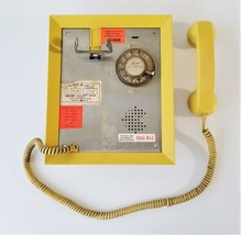 vintage ALLEN TELEPHONE PRODUCTS yellow PANEL WALL PHONE with speaker  - $224.95