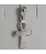 SOLID 18K WHITE GOLD CROSS, CROSS OF LIFE, ANKH, SHINY, 0.87 INCH MADE I... - £169.23 GBP