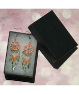 Earring, Orange Dream Catcher, Dangle, Native American, Fish hook ear wire - $9.79