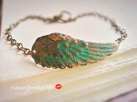 Patina Wing Bracelet Boho Bracelet Patina Feather Bracelet Bohemian Brac... - $34.00