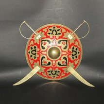 VINTAGE BRASS WALL PLAQUE 3 PIECE SHIELD & SWORDS HAND PAINTED ENAMEL HO... - $67.99
