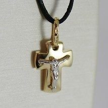18K YELLOW WHITE GOLD MINI CROSS WITH JESUS, STYLIZED SQUARED MADE IN ITALY - $253.00