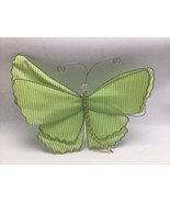 Butterfly Fabric Decor Green White Gingham Check Wire Wings Beaded Body ... - $14.50