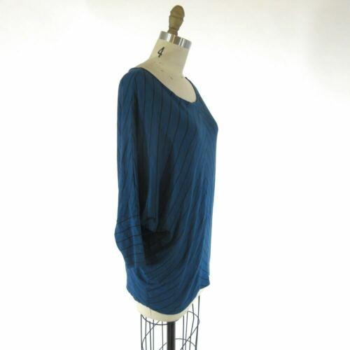 S - Velvet Blue & Black Chevron Patterned Knit Slouchy Fit Shirt Top 0921KW image 2