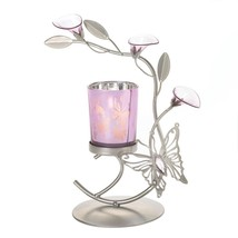 Butterfly Lily Flower Candle Holder Glass Iron Gallery Home Decor 10016360 - $14.20