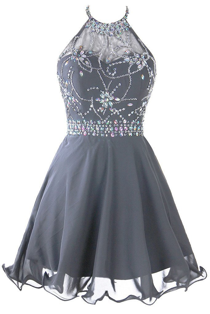 Women's Short Beaded Homecoming Dress Halter Chiffon Prom Dress With Blackless
