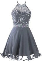 Women's Short Beaded Homecoming Dress Halter Chiffon Prom Dress With Blackless - $108.99