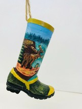 Christmas Ornament Cowboy Boot With Moose Made Of Medal - $12.86