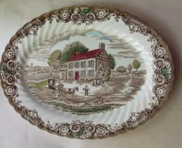 "Oval Serving Platter Johnson Bros Heritage Hall Pennsylvania Fieldstone 12"" UK - $39.00"