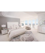 Glimmering Heights 5 PC Queen Upholstered Platform Bedroom Set in Ivory ... - $3,501.00