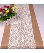 Feelmate 12x108 Inch Lace Burlap Table Runner for Wedding Decor 4packs - $42.84 CAD