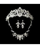 Silver Swarovski Crystal Freshwater Pearl Bridal Tiara Necklace Earring Set - €143,32 EUR