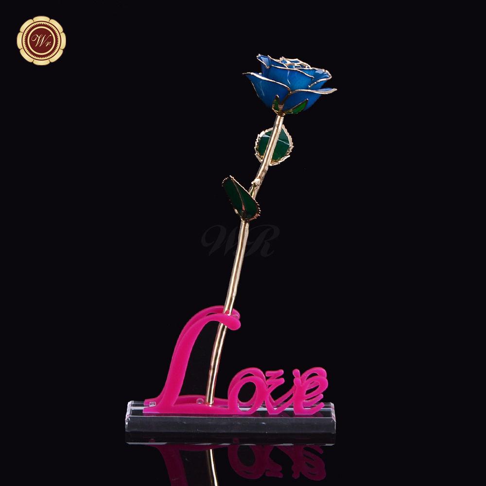 Aliexpress Com Buy Wr Romantic Rose 24k Gold Dipped: WR 24k Gold Dipped Rose Blue Wedding Gift For Boy Flower