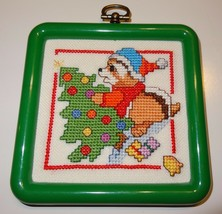 """Raccoon Christmas Ornament  Finished Cross Stitch 4"""" Decorating Tree - $25.25"""