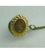Anson 14K YELLOW GOLD PIN OR TIE TACK WITH CHAIN Monogramed - $49.50