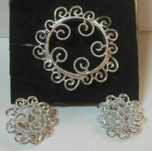 Vintage Sarah Coventry Silvery Mist Filigree Swirl Brooch & Earring Set - $22.99