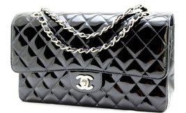 CHANEL 10 inch Classic Med 2.55 Black Quilted Patent Leather Double Flap... - $2,629.00