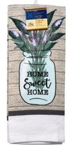 KITCHEN TOWELS Set of 2 Home Sweet Home Lavender Green Brown Beige Cotton image 2