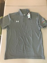 Men's gray with logo Under Armour Loose golf polo shirt Large L B94 - $24.07