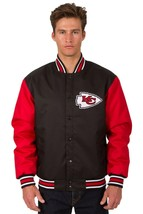 NFL Kansas City Chiefs Poly Twill Jacket  Black  Red  Patch Logos JH Design - $129.99