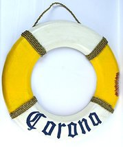 Hand Carved Blue Letters Corona Beer Life Ring Buoy LifeSaver Wooden Wal... - $39.54