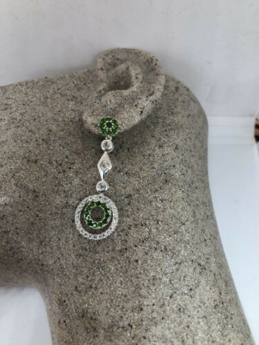 Primary image for Vintage Chrome Diopside Earrings Deco 925 Sterling Silver Chandelier