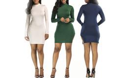 Women's Basic Long Sleeve Midi Bodycon Dress  - $19.99