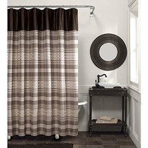 MAYTEX Blake Chenille Striped Fabric Shower Curtain, Brown Multi - $21.53