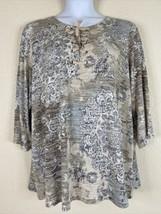 Susan Graver Womens Plus Size 3X Beige Knit Tunic 3/4 Sleeve Lace Up Neck - $26.10