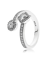 925 Sterling Silver Abstract Elegance with Clear CZ Ring For Women QJCB1191 - $22.99