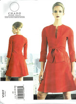 Vogue 1317 Dress Pattern Designer Ralph Rucci Low Neckline Slit Szs F5 1... - $8.42
