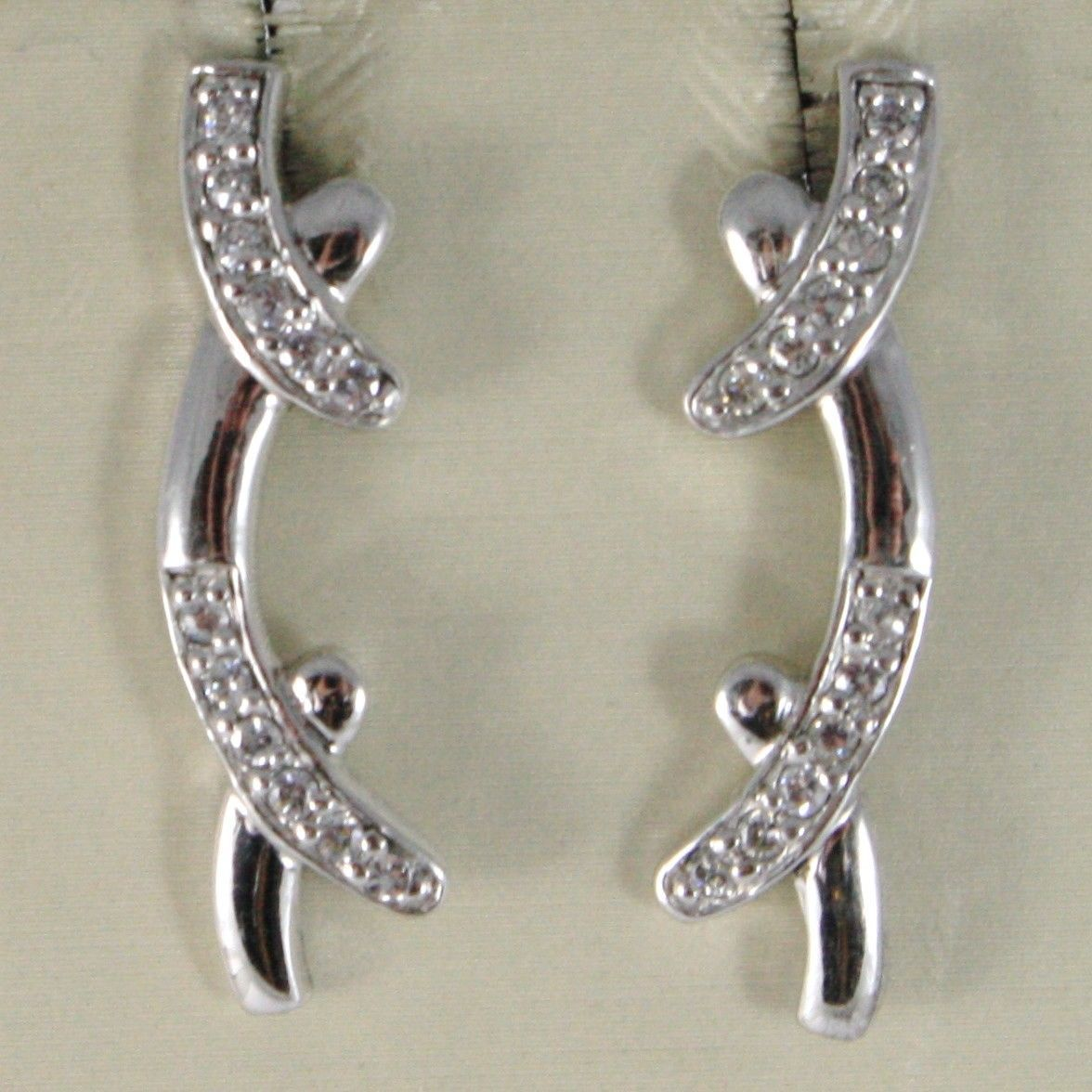 EARRINGS SILVER 925 TRIED AND TESTED A BAR LINE RIGID WITH ZIRCON CUBIC WHITE