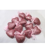 """Valentines Day Pink Glitter Hearts 2"""" Ornaments Decorations Decor Set of 12 - $14.99"""