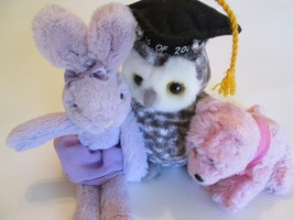 TY Graduation Owl Teddy Bear With Cap & Friends Purple Bunny And Pink Puppy - $9.99