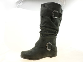 Journee Collection Womens Calf Slouch Buckle Knee High Boots Gray Suede ... - $34.64