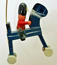 """Primitive Wooden Horse and Soldier Christmas Tree Ornament 3 7/8"""" Tall  - $6.92"""