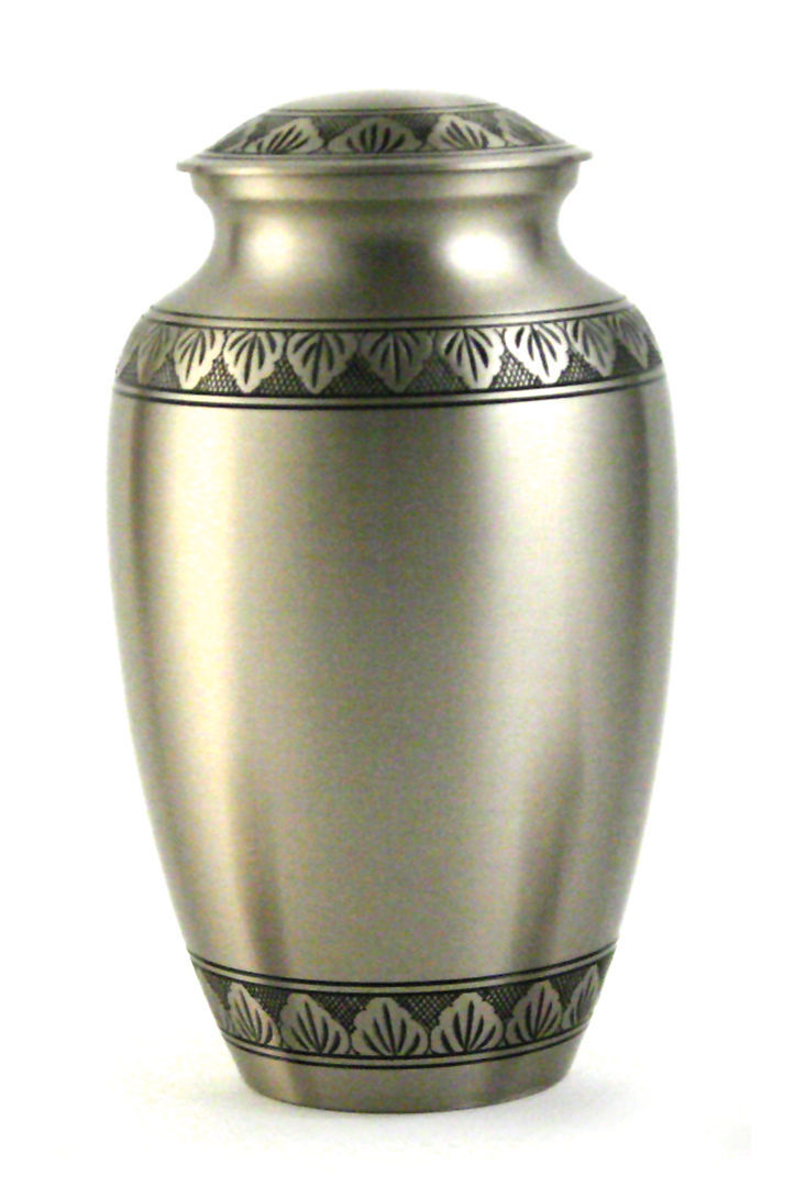 New, Solid Brass Atena Pewter Large Funeral Cremation Urn, 190 Cubic Inches