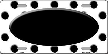 Primary image for Black White Polka Dot Print With Black Center Oval Metal Novelty License Plate