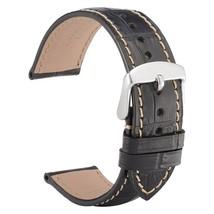 WOCCI Black Watch Bands Alligator Grain Leather With Beige Stitching 19 ... - $29.89