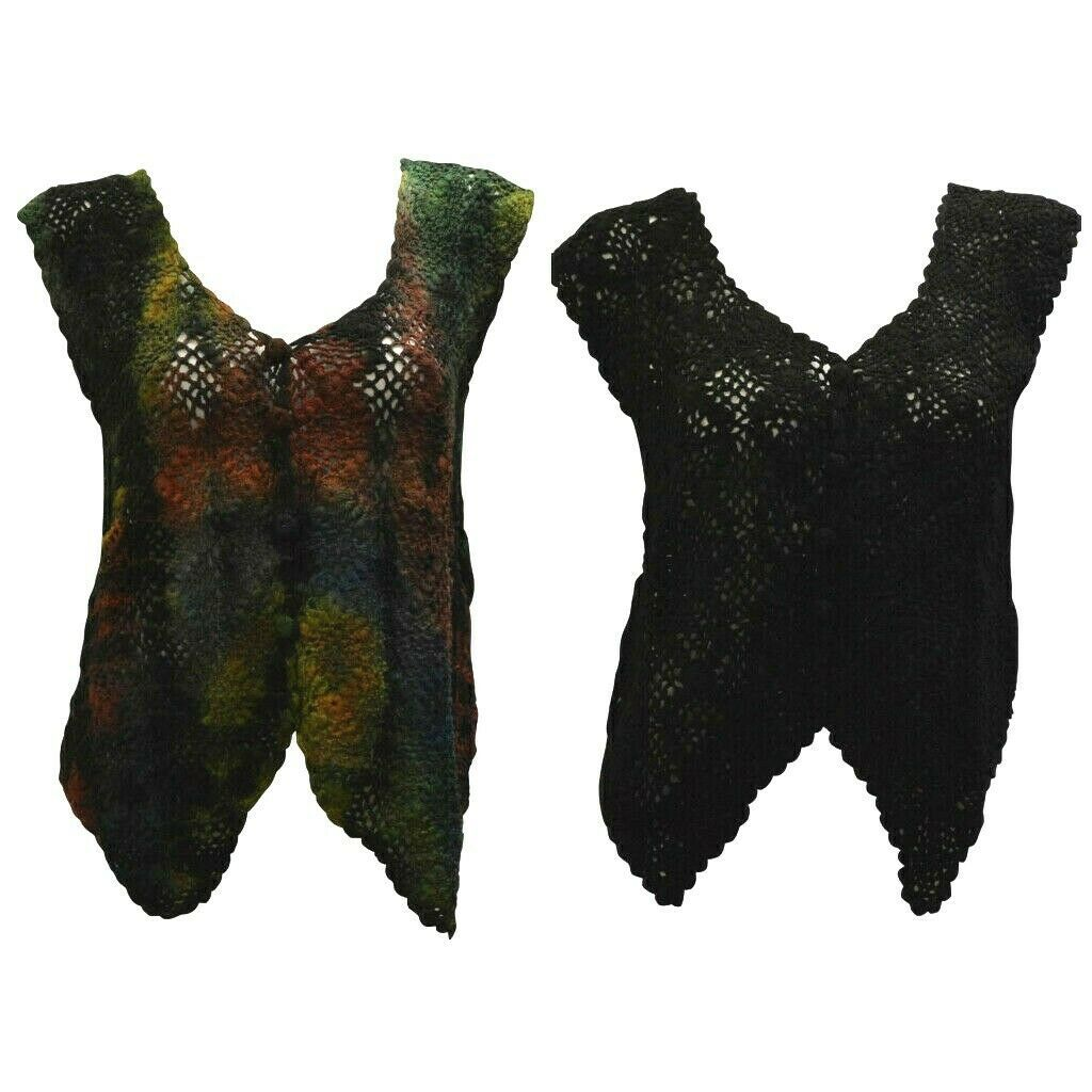Primary image for BOHO HIPPIE CROCHET VINTAGE STYLE KNITTED UPCYCLED SLEEVELESS WAISTCOAT FREESIZE